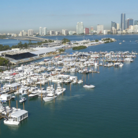 Miami dock with many boats and yachts in the water and the Miami skyline in the background.